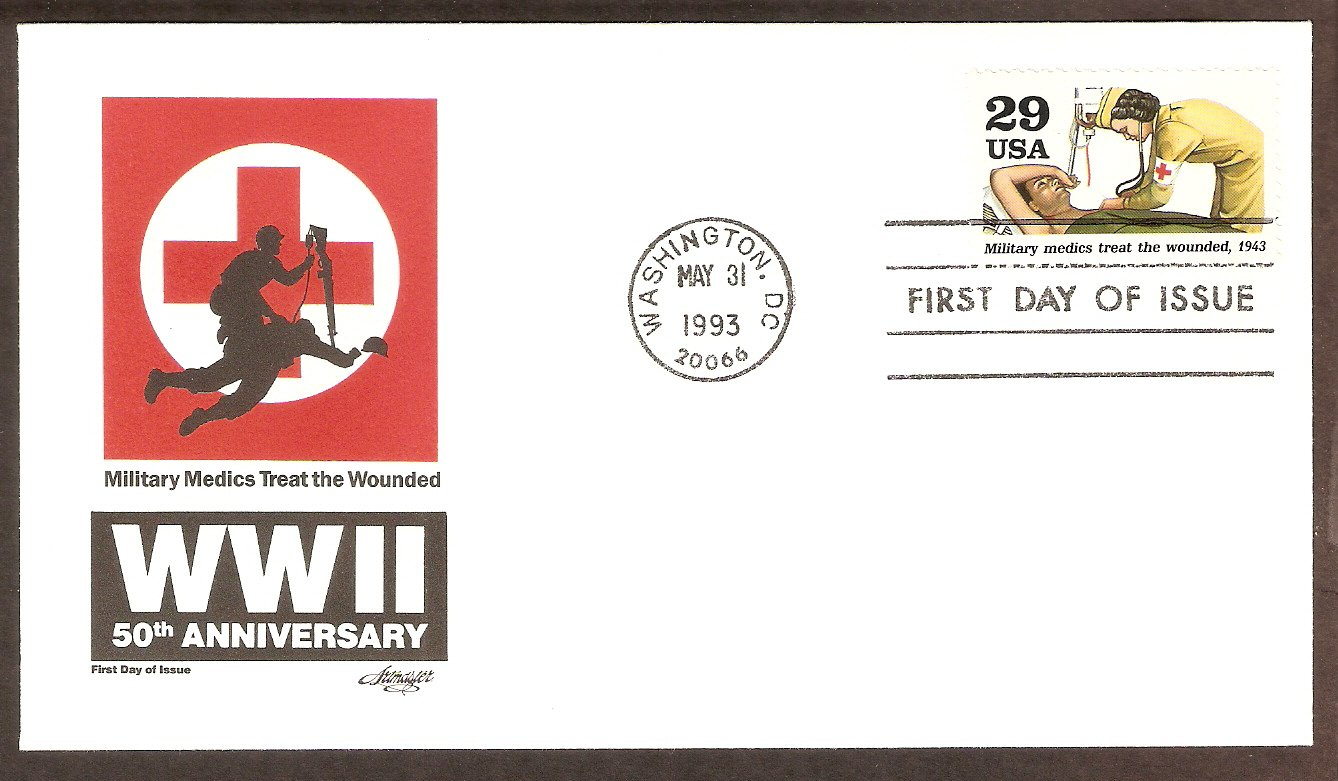 50th Anniversary World War II, 1943 Military Medics Treat the Wounded FDC USA