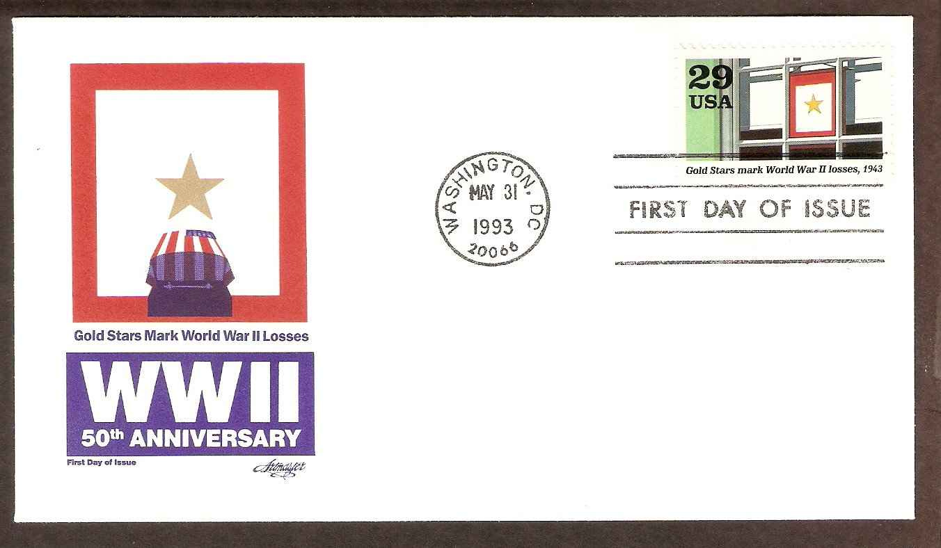 50th Anniversary World War II, 1943 Gold Stars Mark War Losses, FDC USA