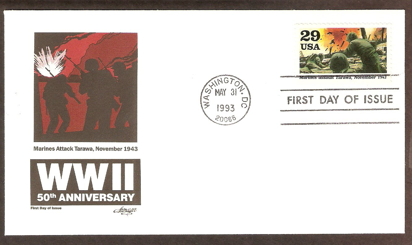 50th Anniversary World War II, 1943 Marines Assault Tarawa, FDC USA