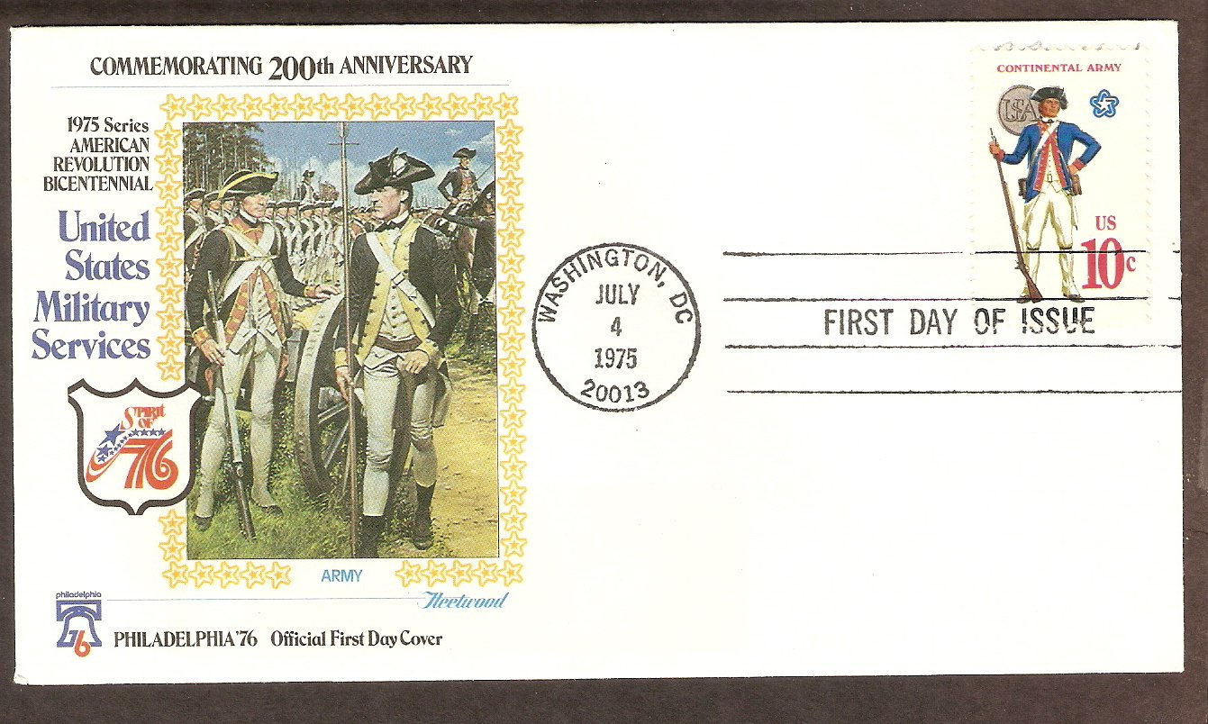 Bicentennial Revolutionary War Uniforms, Continental Army, First Day Issue Cover, 1975 USA