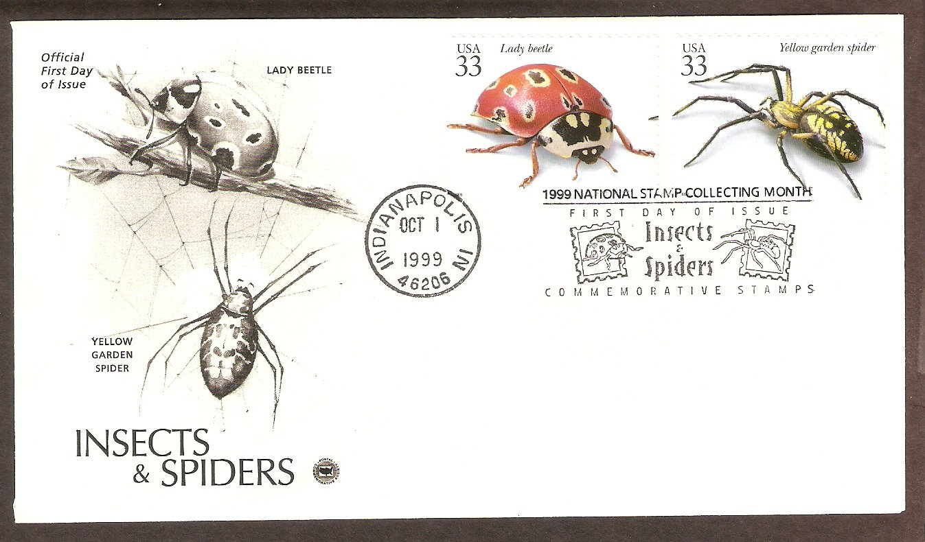 Insects and Spiders, Lady Beetle, Yellow Garden Spider, PCS, First Issue USA