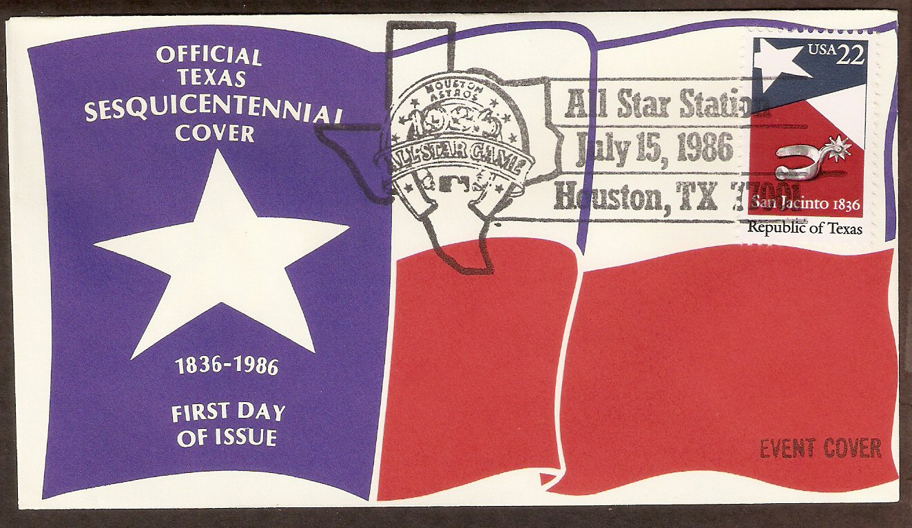 Texas Sesquicentennial, Houston Astros All Star Game, Silver Spur 1986 Event Cover