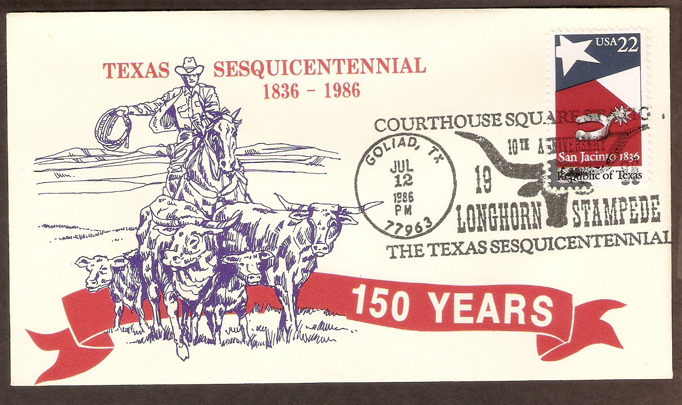 Texas Sesquicentennial, Courthouse Square Longhorn Stampede, Silver Spur 1986 Event Cover