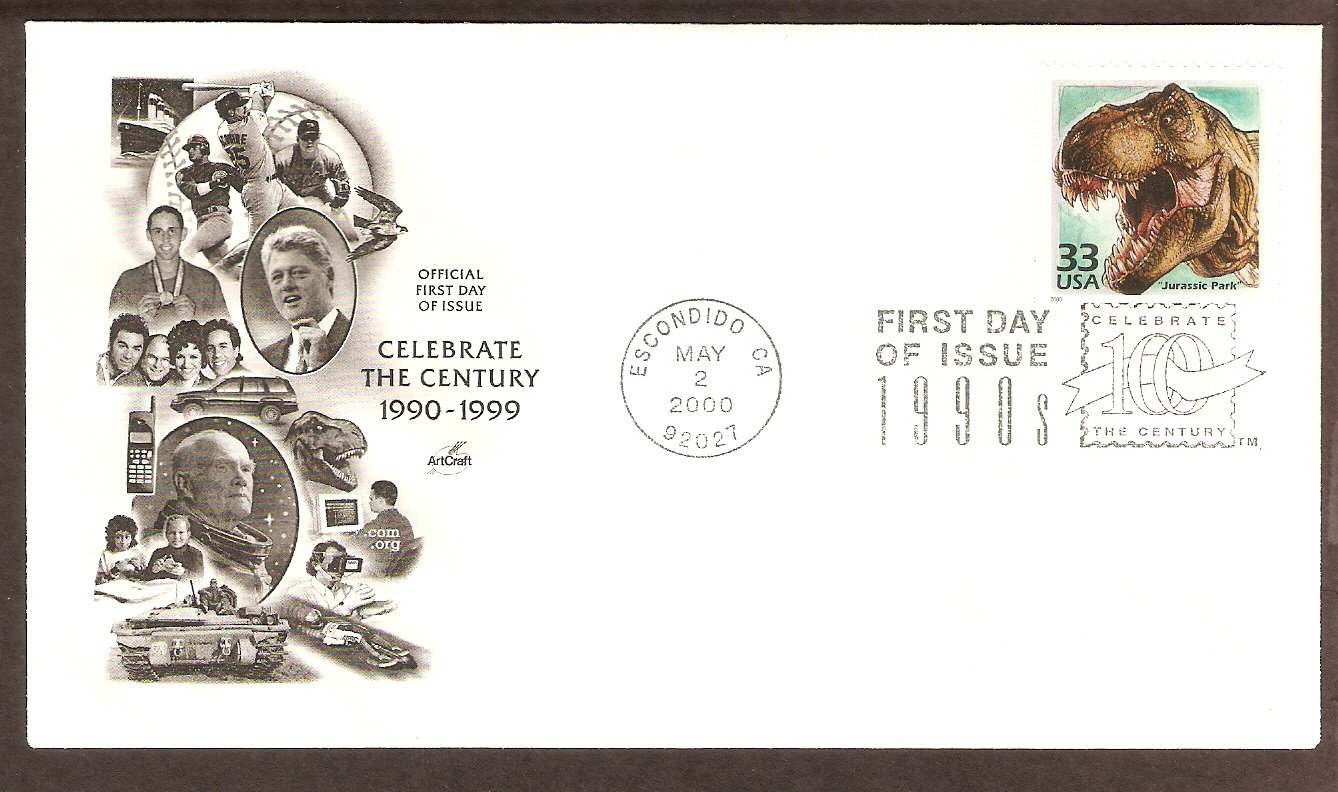 Celebrating the Century, 1990s, Jurassic Park, FDC, AC First Day of Issue USA