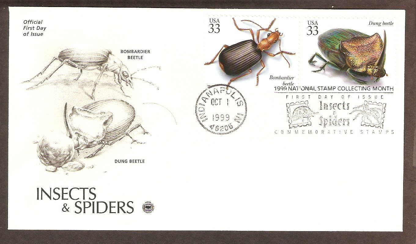 Insects and Spiders, Bombardier Beetle, Dung Beetle, PCS, First Issue USA