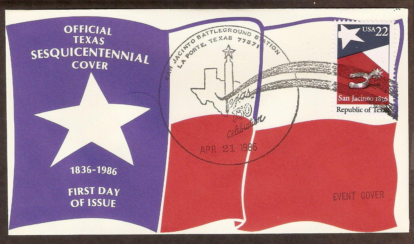 Texas Sesquicentennial, San Jancinto Battleground, Silver Spur 1986 Event Cover
