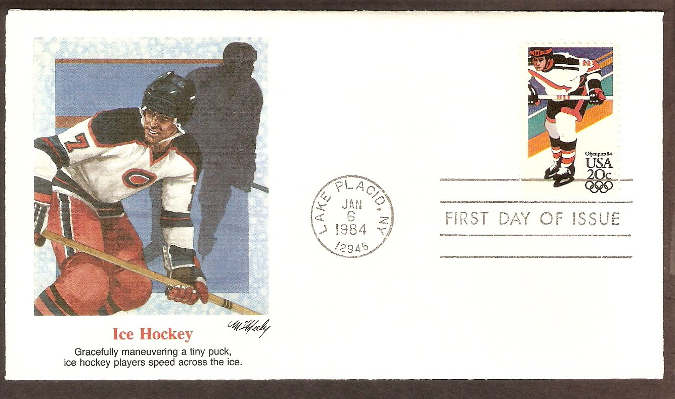 Olympics 1984, Ice Hockey, Lake Placid, First Issue USA
