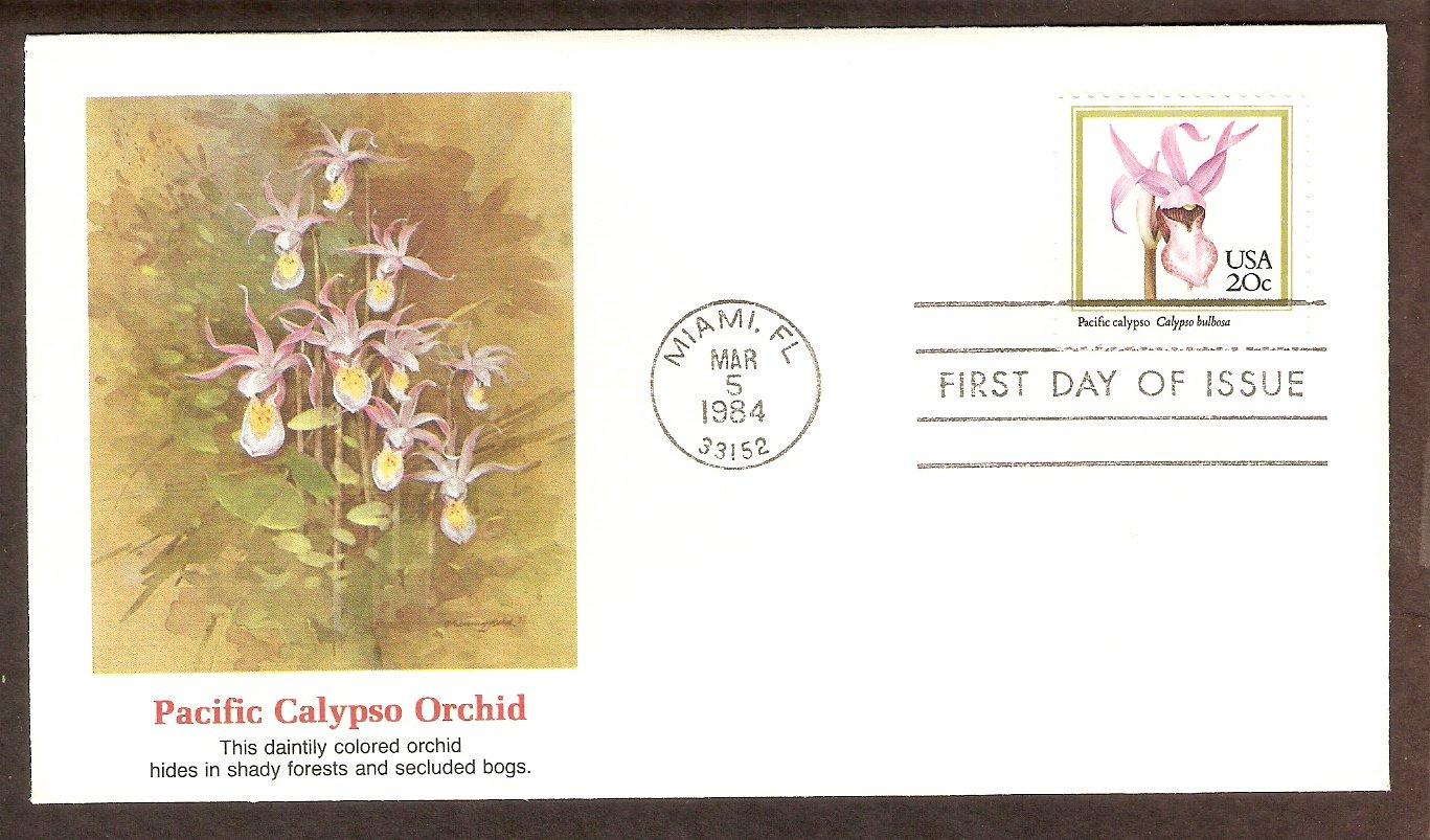 Native American Orchids, Pacific calypso, Calypso bulbosa, FW First Issue USA