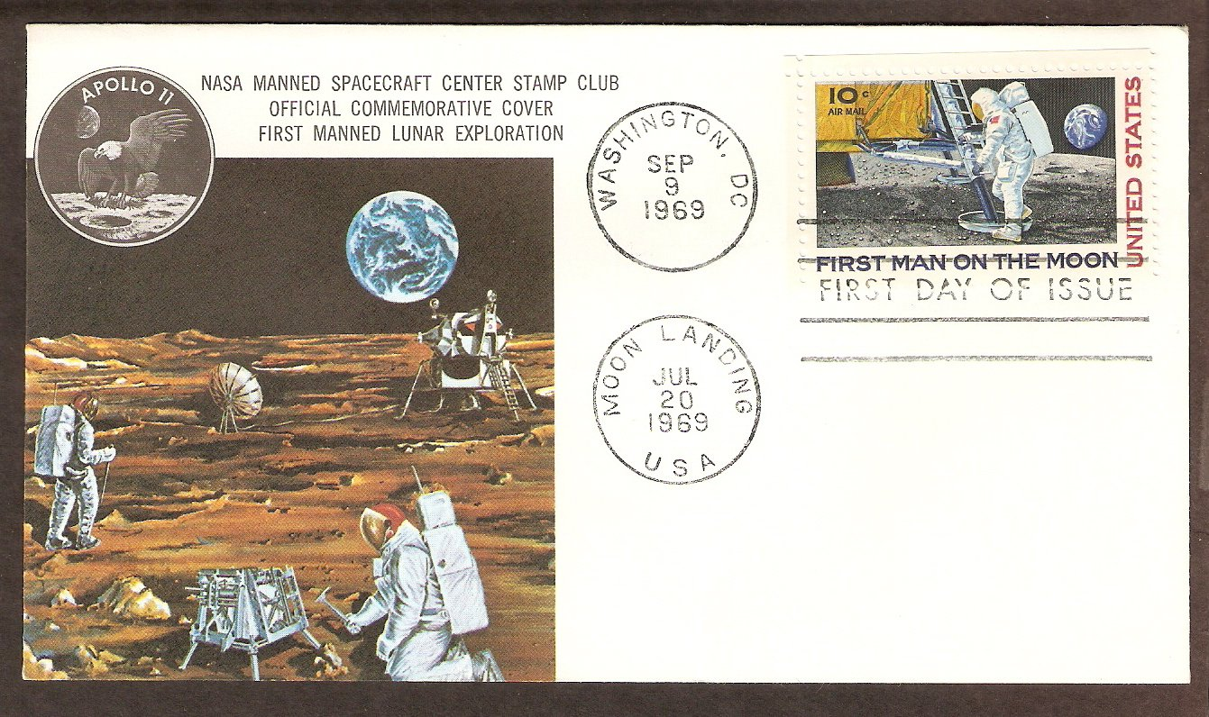 Apollo 11 Space, First Man on Moon, NASA, 1969 Spacecraft Center First Issue USA