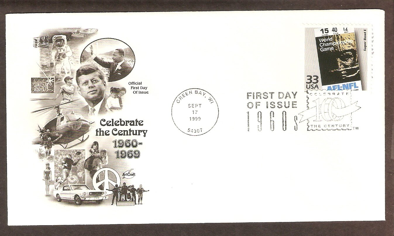 Super Bowl I, First Super Bowl, Green Bay Packers, Kansas City Chiefs CTC 1960s, First Issue USA!