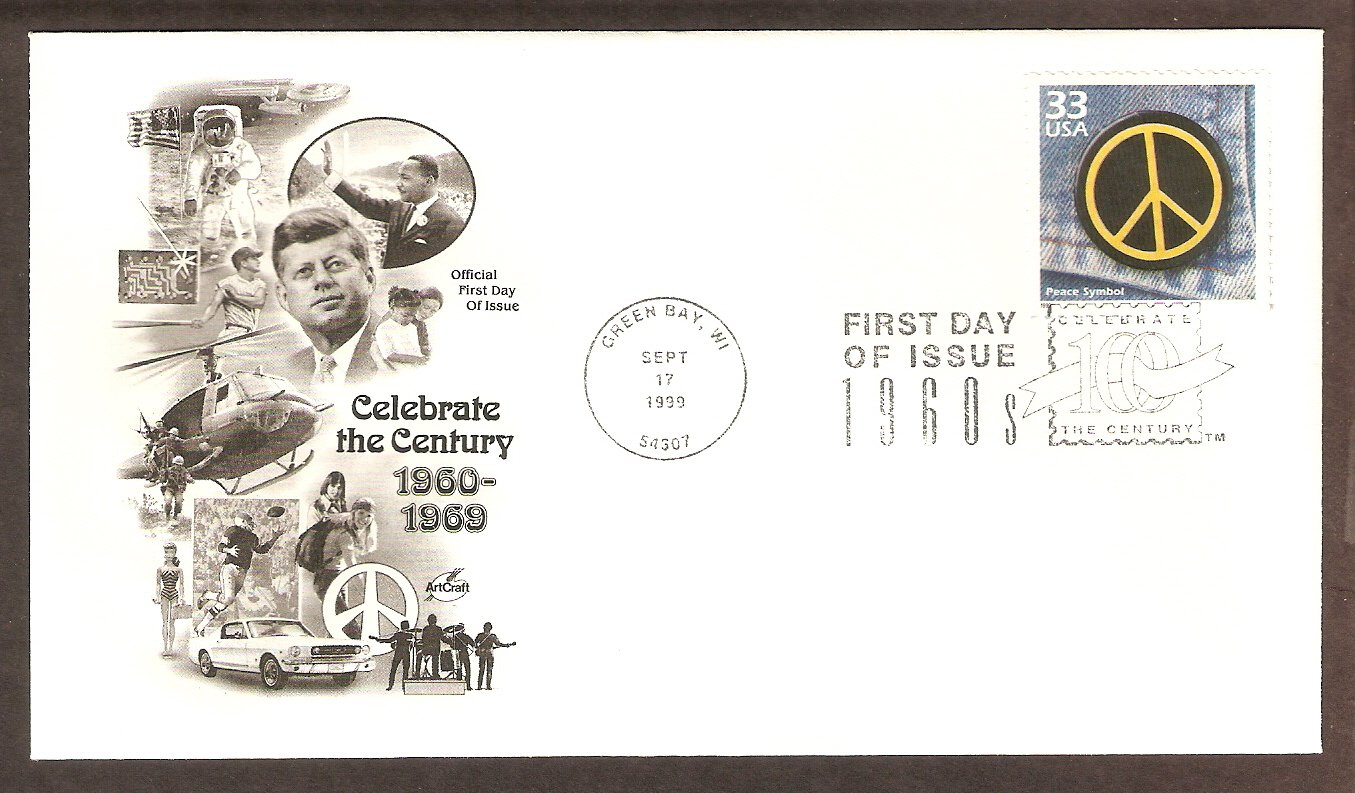 Peace Symbol, Universal Sign of Peace, 1960s, FDC, AC First Day of Issue USA