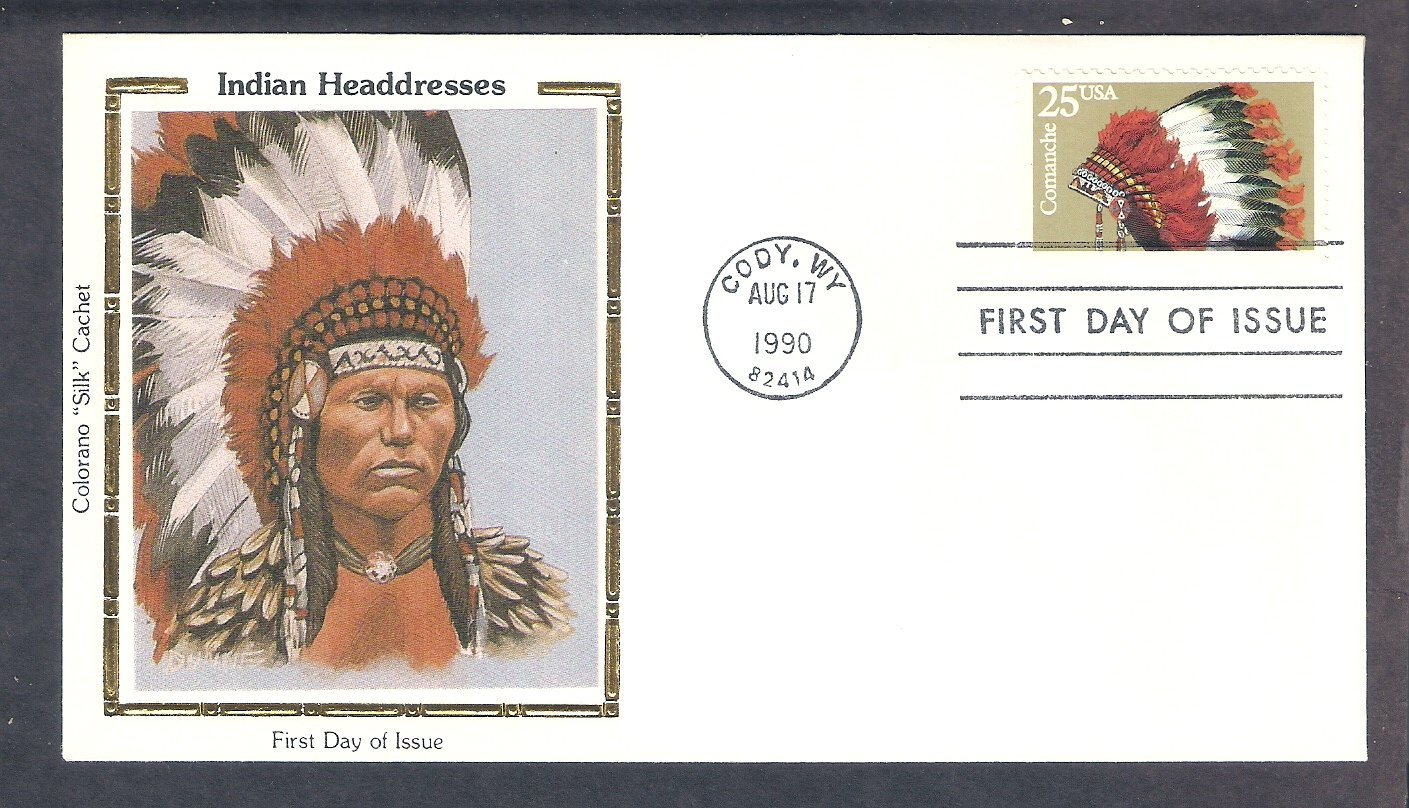 Comanche Indian Headdress Native American CS First Issue USA FDC