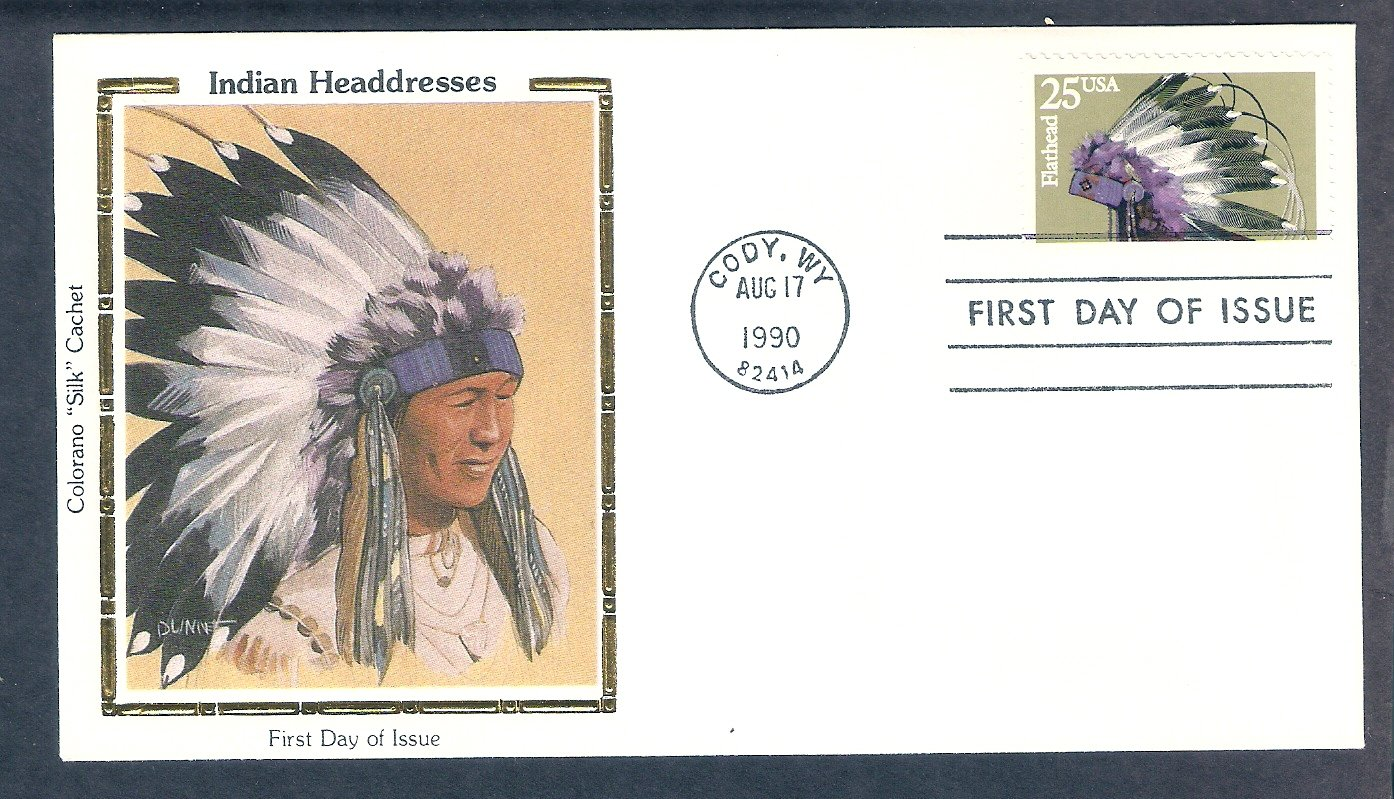 Flathead Indian Headdress Native American CS First Issue USA FDC