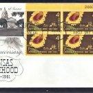 Kansas Statehood Centennial, Sunflower, AC Plate Block First Issue 1961 USA
