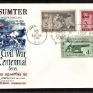 Civil War Centennial, Fort Sumter Combo, Veterans, First Issue FDC USA