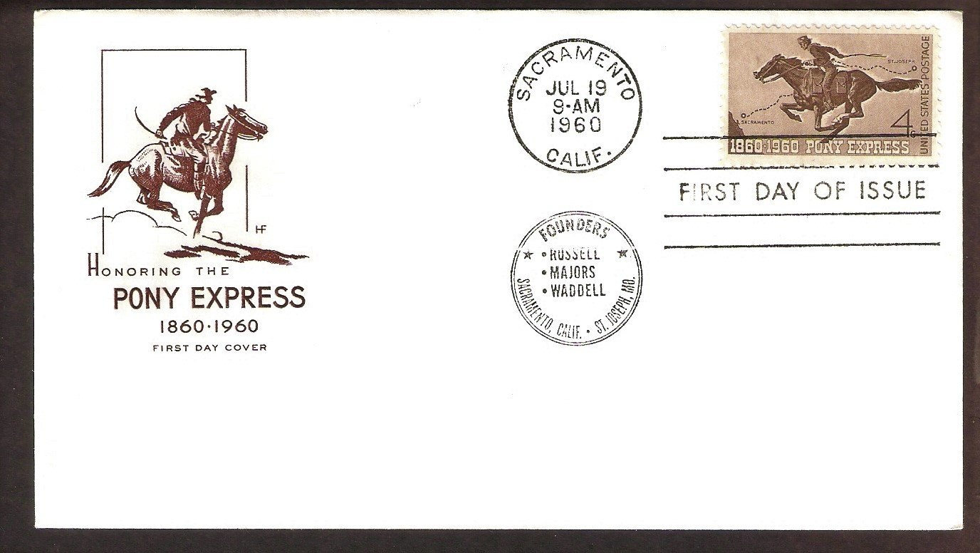 Pony Express Anniversary, Mail Carrier on Horse, 1960 USPS HF FDC