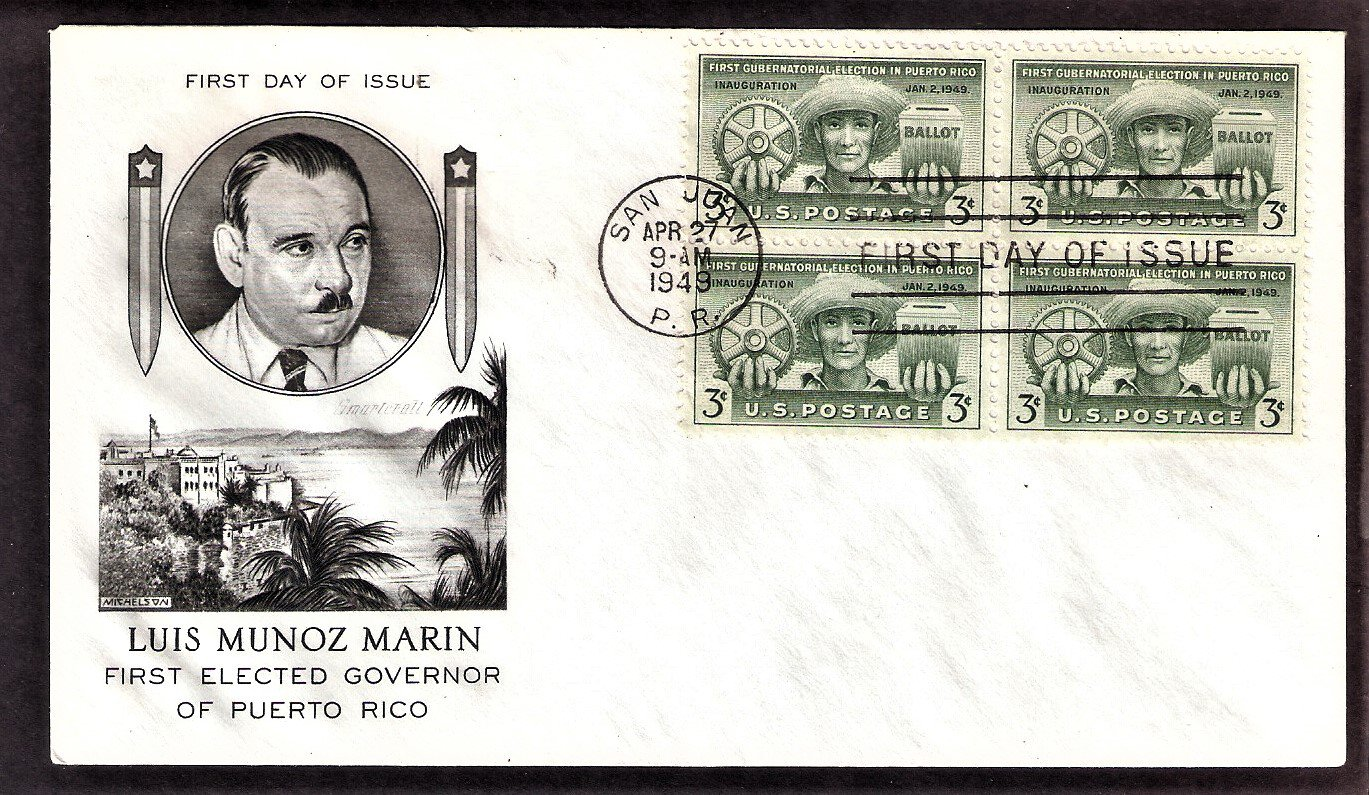 Puerto Rico Governor Luis Marin, 1949 First Issue USA