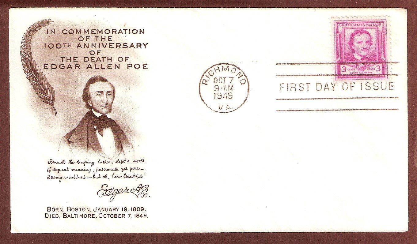 Edgar Allen Poe, Poet, 100th Anniversary, AM, 1949 First Issue USA