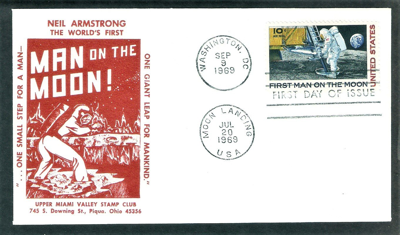 Apollo 11 Space Astronauts, First Man on Moon, NASA 1969 UMVSC  First Issue FDC