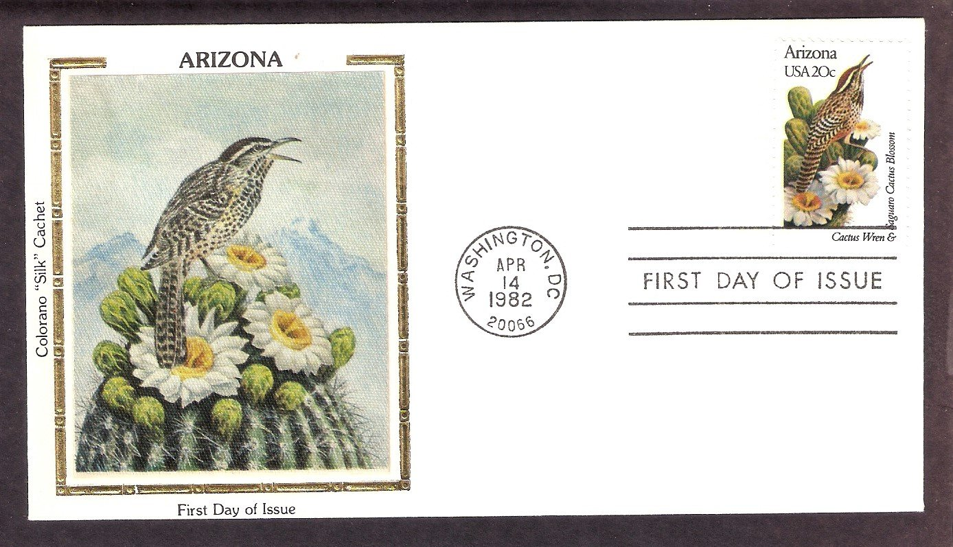 Arizona Birds and Flowers, Cactus Wren, Saguaro Cactus Blossom, CS First Issue USA