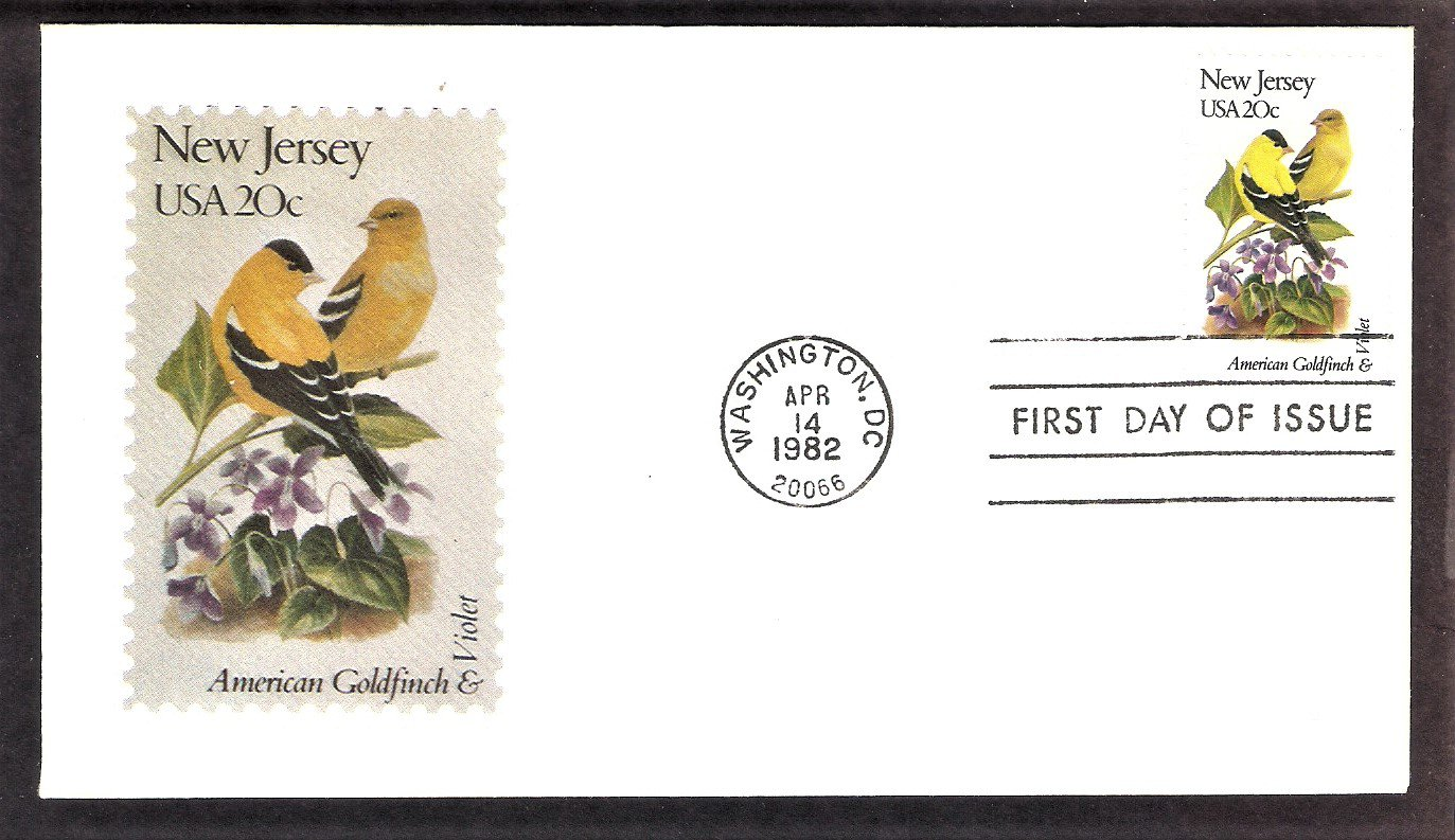 New Jersey Birds and Flowers, American Goldfinch, Violet, Andrews First Issue USA