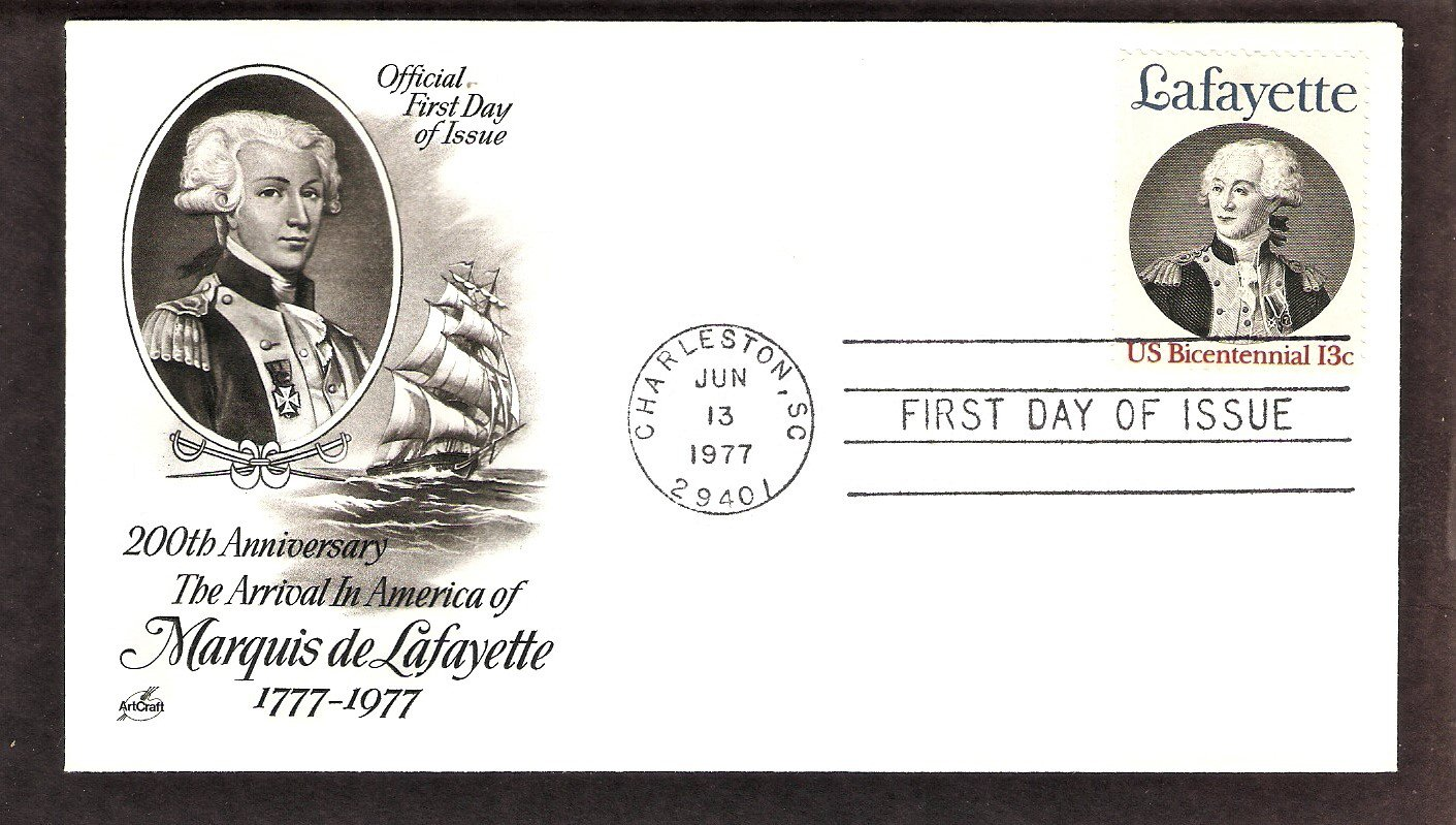 Bicentennial, Honoring  American Revolutionary Army  General Marquis de Lafayette, AC First Issue