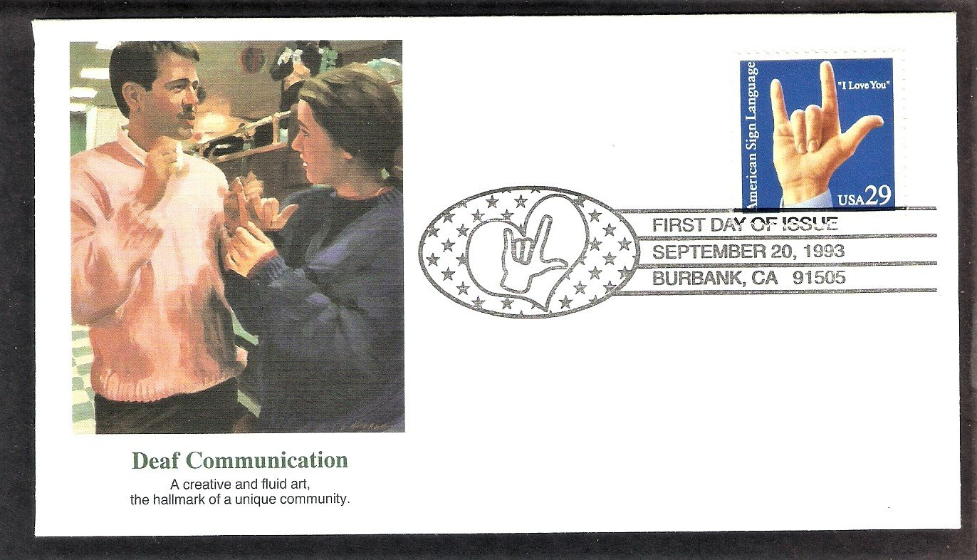 """Deaf Communication, American Sign Language, """"I Love You."""" FW 1993 USA FDC, First Day of Issue"""