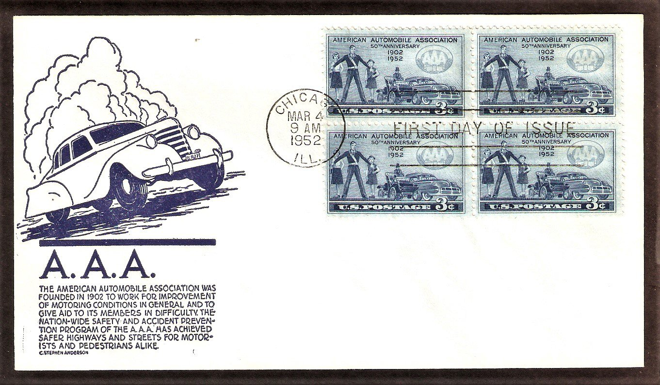 50th Anniversary of the American Automobile Association, AAA, Anderson, 1952 First Issue USA