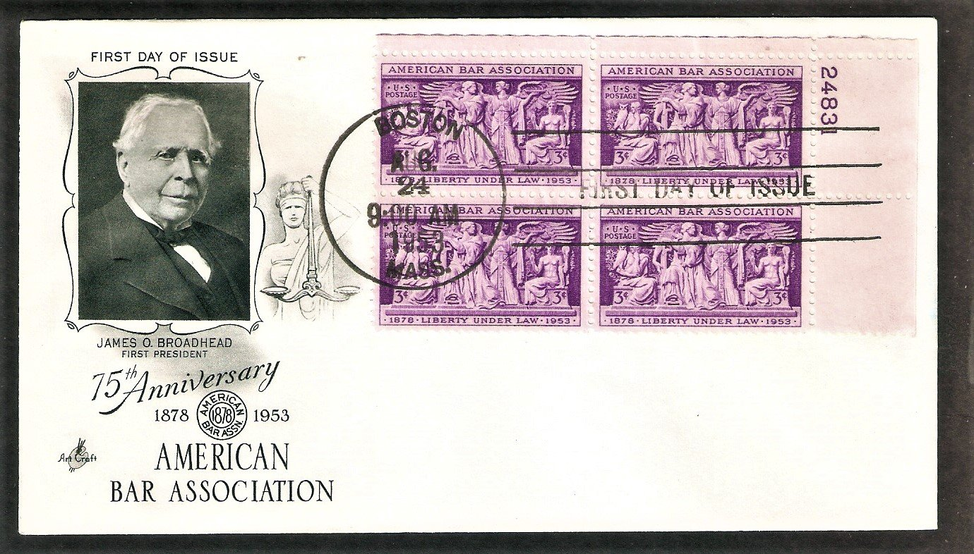 75th Anniversary of  the American Bar Association, Supreme Court, Plate Block, 1953 First Issue USA