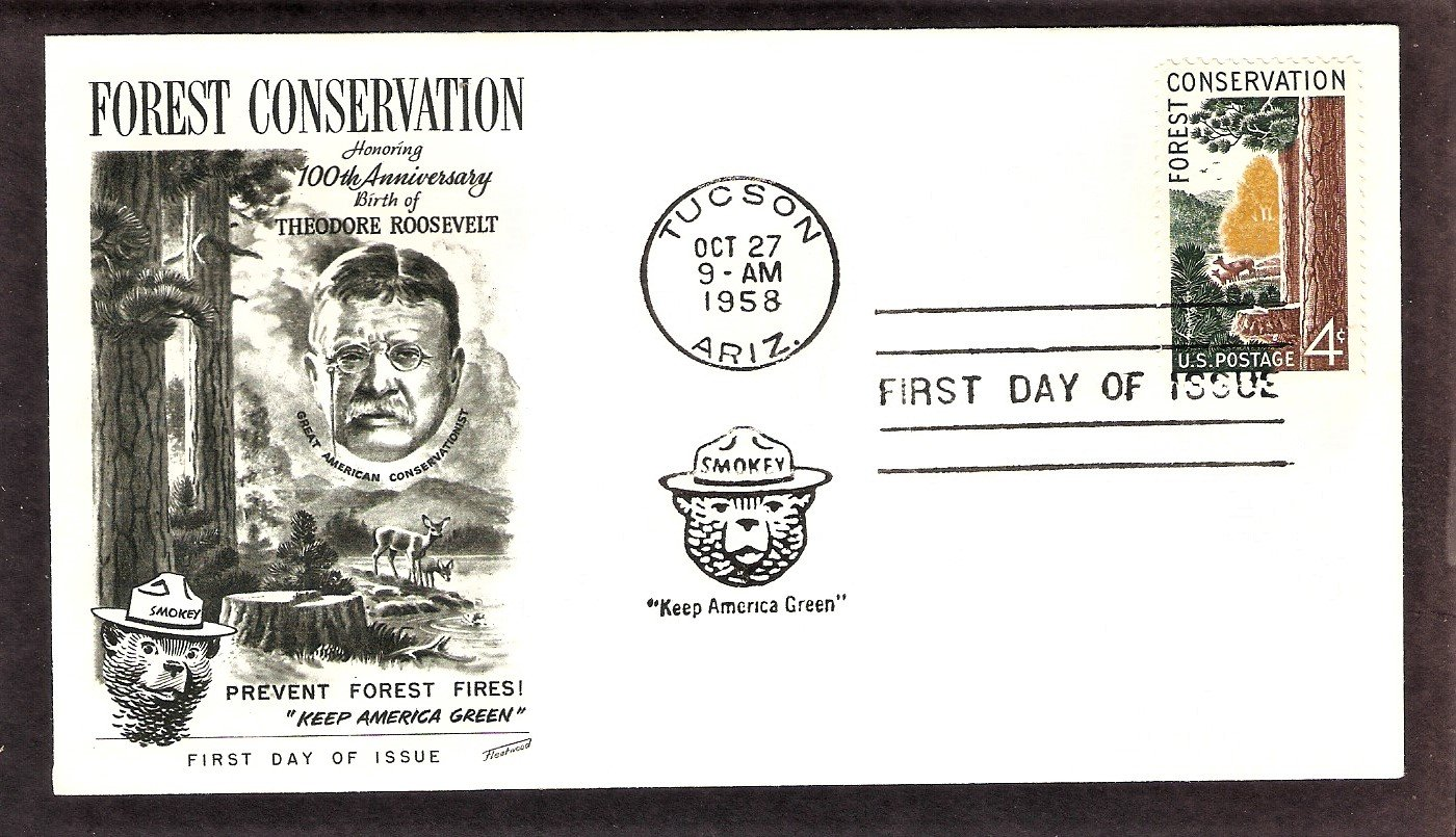 Smokey the Bear, Forest Conservation, 1958, FW, First Day of Issue USA