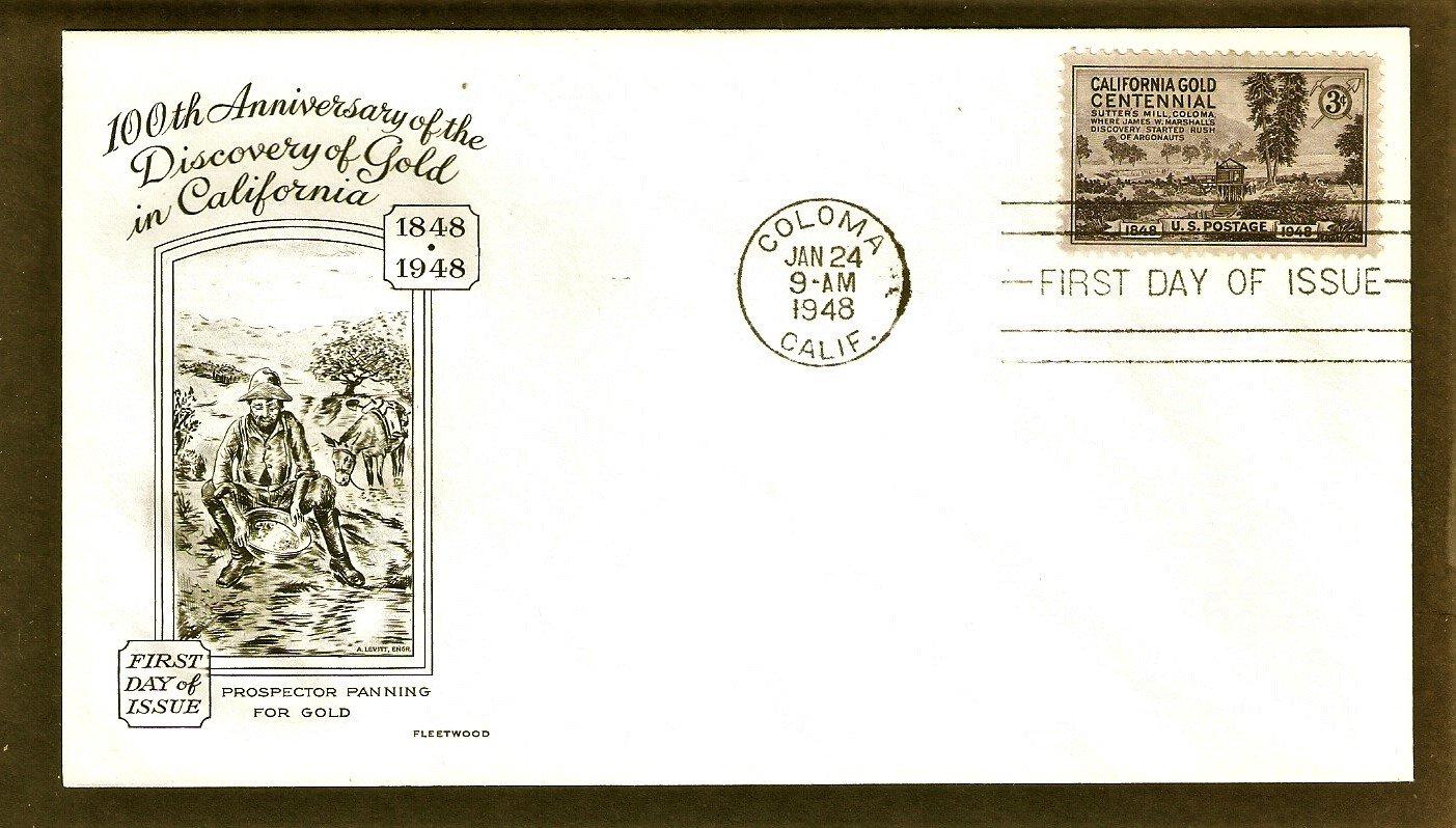 100th Anniversary, California Gold Rush, Sutter's Mill, Coloma, Prospectors, 1948, First Issue USA