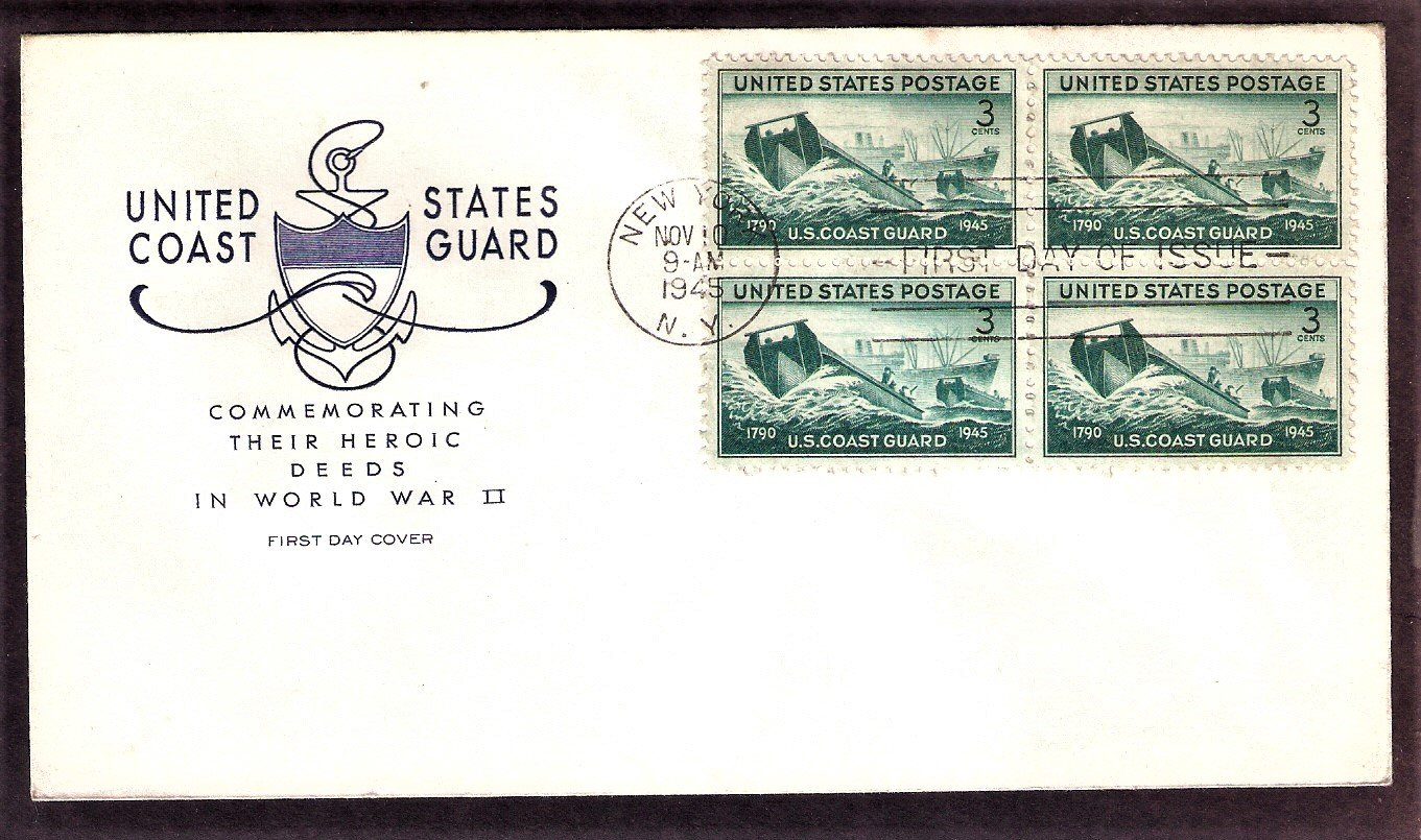 Honoring the Achievements of the U.S. Coast Guard in World War II, 1945 First Issue USA
