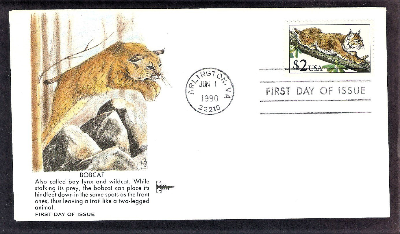 Bobcat Animal, Most Common Wildcat in the United States, GC, First Issue FDC USA 1990