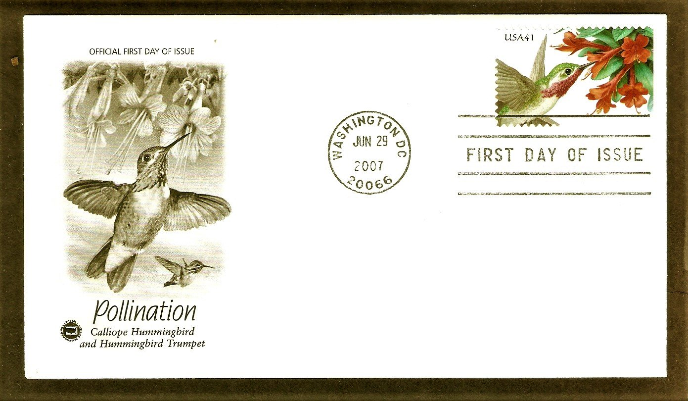 Pollination, Calliope Hummingbird, Hummingbird Trumpet, PCS, First Issue USA