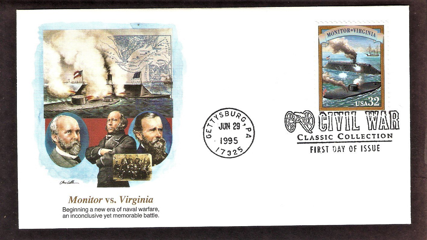 Civil War Battle Union Monitor and Confederate CSS Virginia, Ironclad Warships, FW, First Issue USA