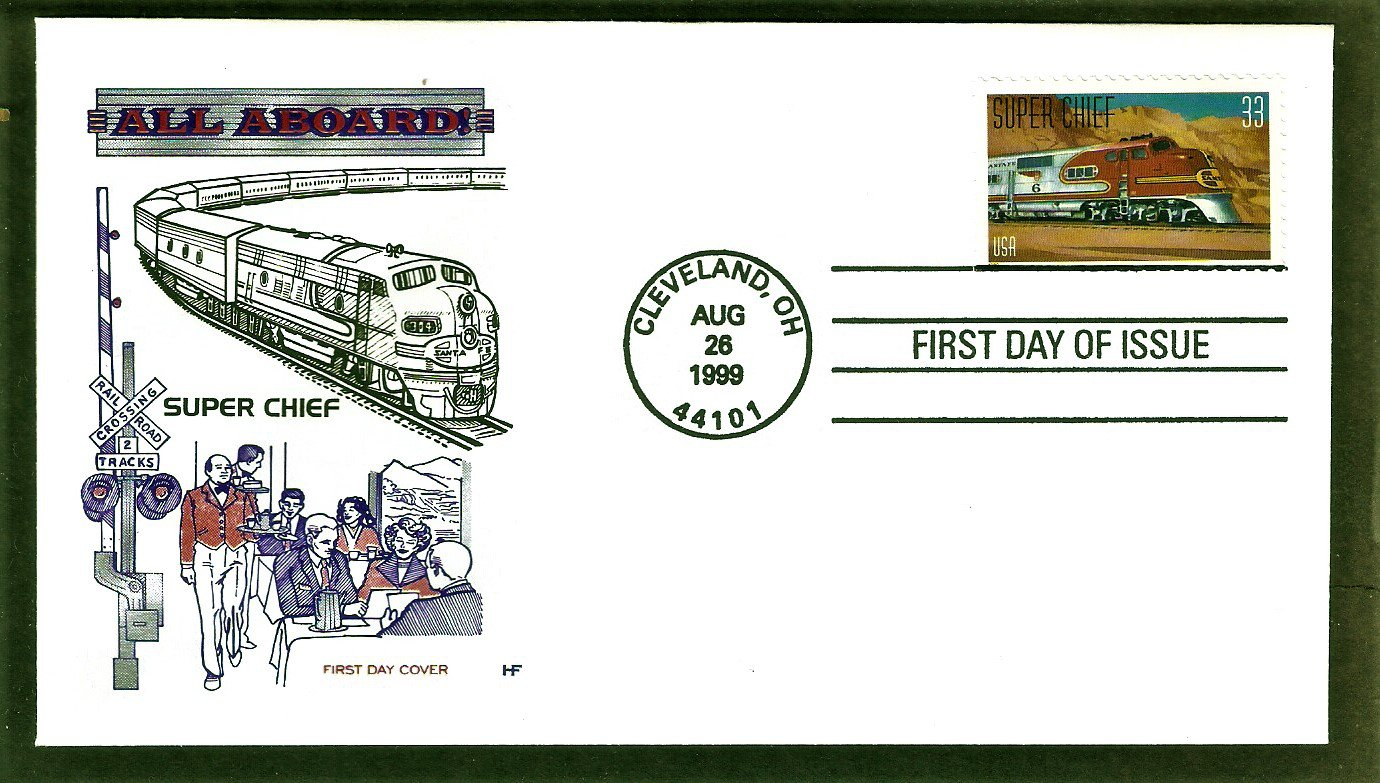 Super Chief,  Warbonnet, Locomotive, Santa Fe Railroad, HF, First Issue FDC USA