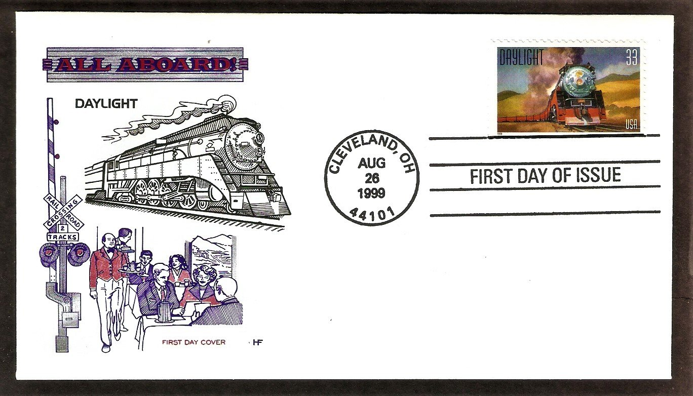 Daylight, Steam Locomotive Railroad, HF, First Day of Issue FDC USA