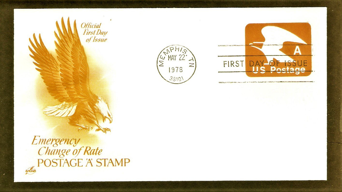 "1978 ""A"" Rate Change Stamp, USPS Bald Eagle Emblem, Embossed, U.S. Mail First Issue USA"