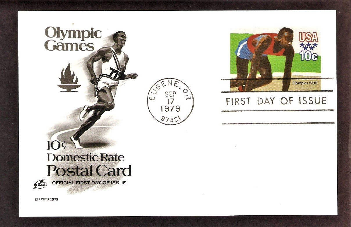1980 Olympics, Sprinting, Postal Card, First Issue USA