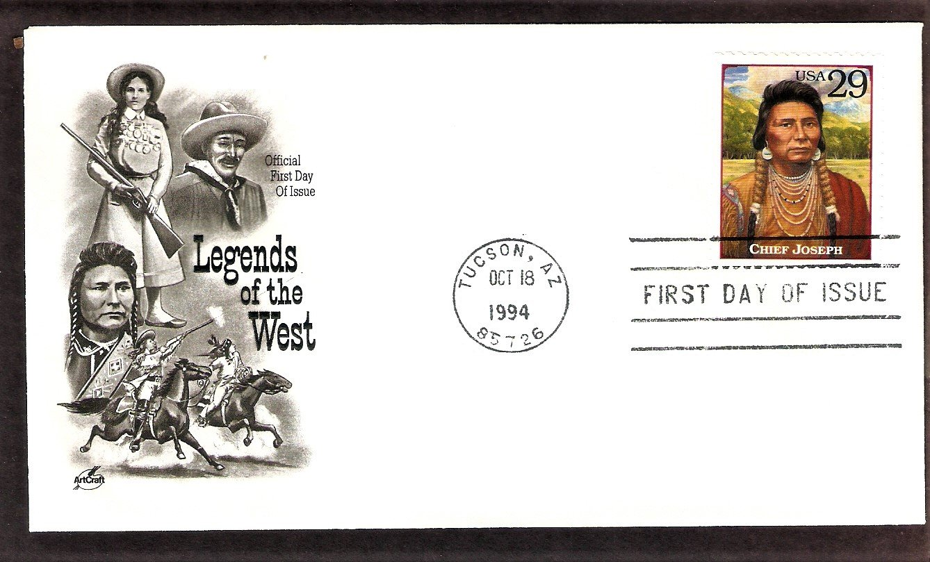 Chief Joseph, Legends of the West, Tucson, Arizona, AC, First Issue, FDC USA