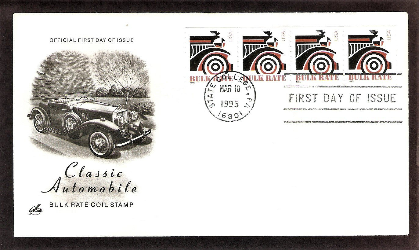 Classic Automobile Bulk Rate Coil Stamp, AC, First Issue FDC USA