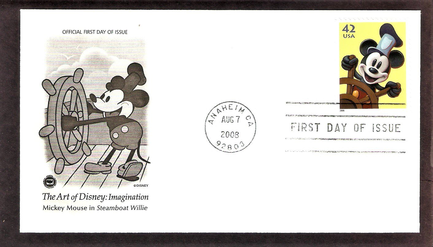 The Art of Disney Imagination, Mickey Mouse, Steamboat Willie, PCS, First Issue, FDC USA
