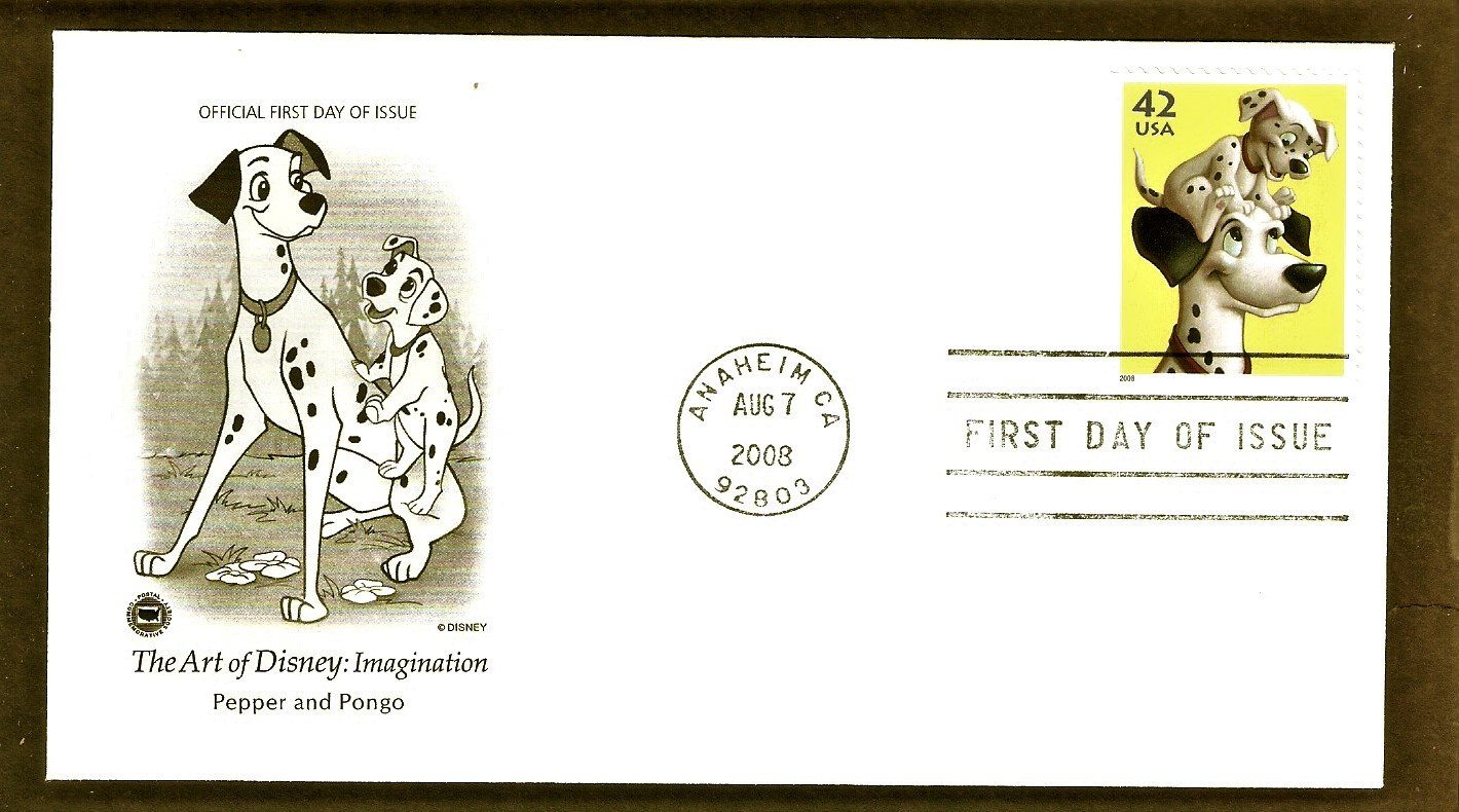 The Art of Disney Imagination, 101 Dalmatians, Pepper and Pongo, PCS, First Issue, FDC USA