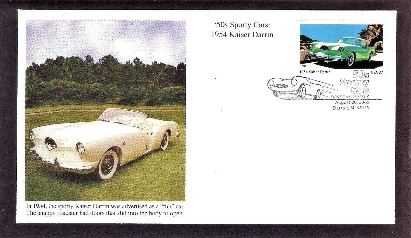 50s Sporty Cars, 1954 Kaiser Darrin, Mystic, First Issue, Detroit, Michigan USA FDC