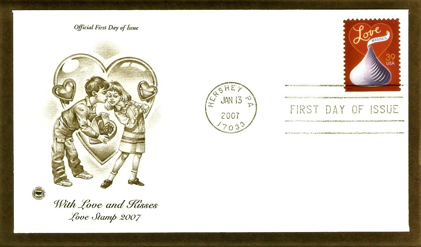 Love Stamp 2007, With Love and Kisses, Hershey, PCS, First Issue USA