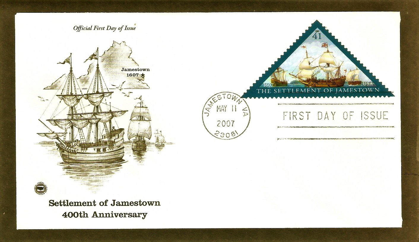 400th Anniversary of the Settlement of Jamestown, Triangle Stamp, PCS, First Issue USA