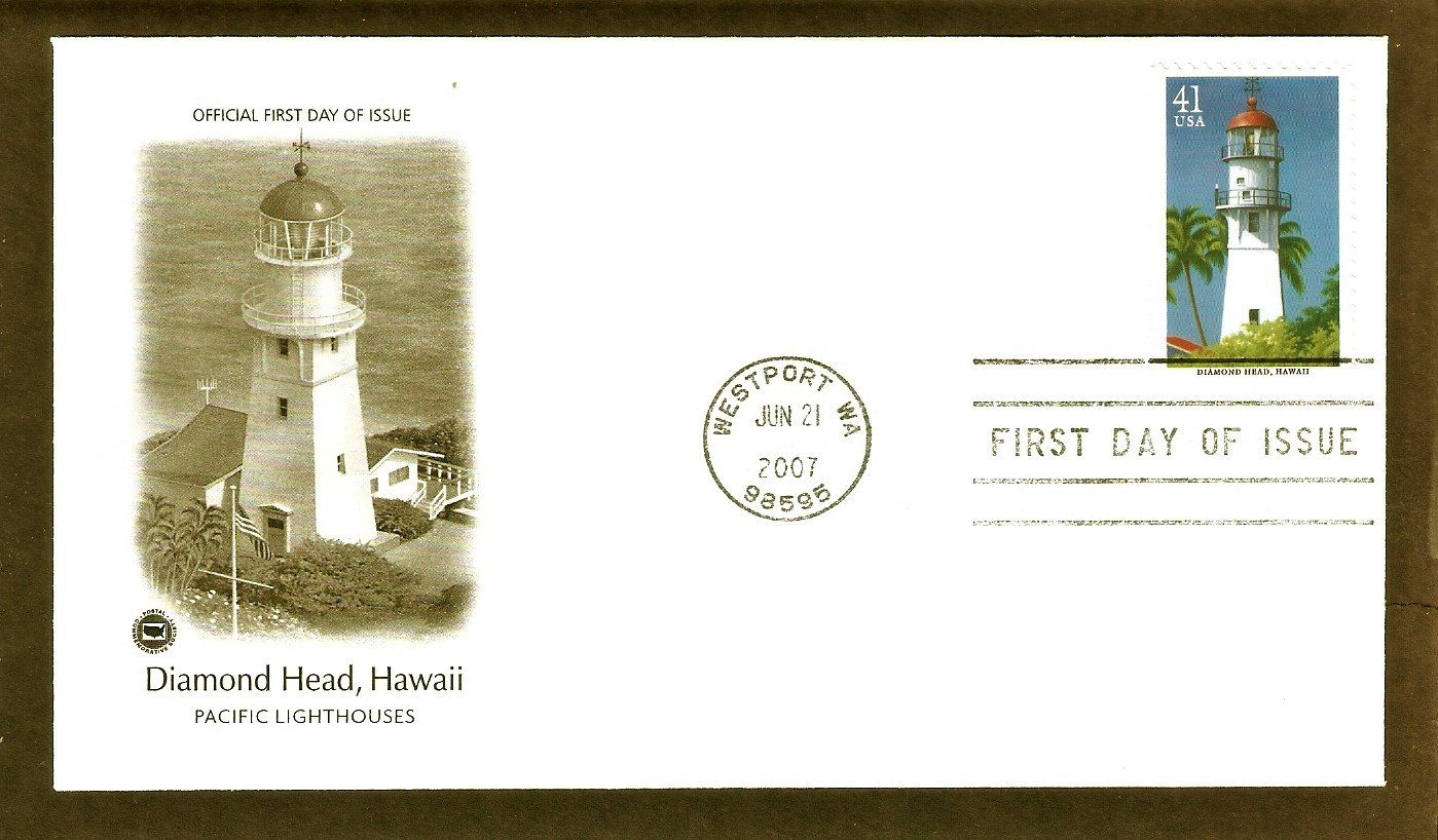 Pacific Lighthouses, Diamond Head, Hawaii, PCS, First Issue USA