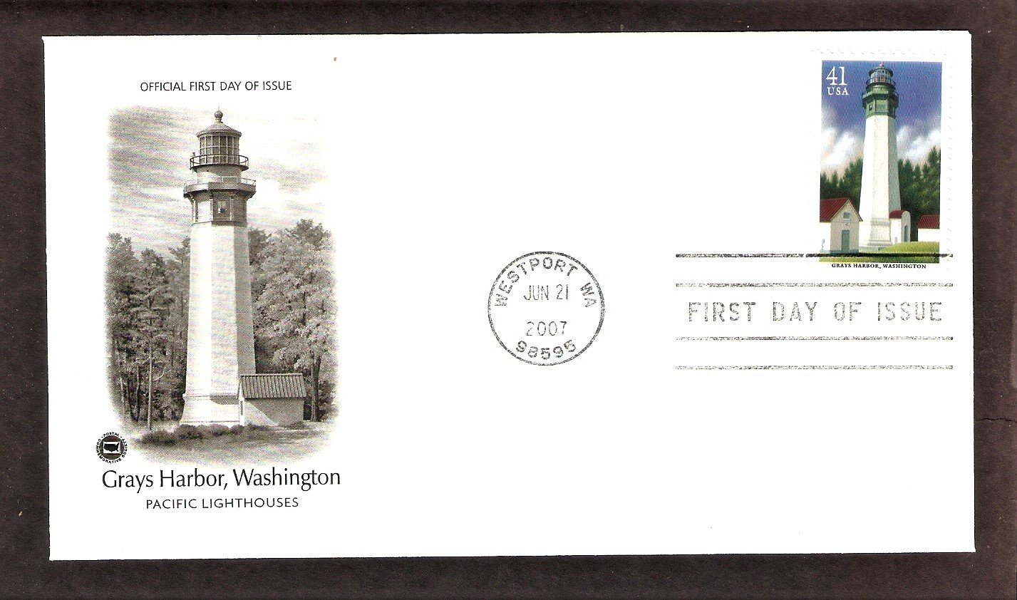 Pacific Lighthouses, Grays Harbor, Washington, PCS, First Issue USA