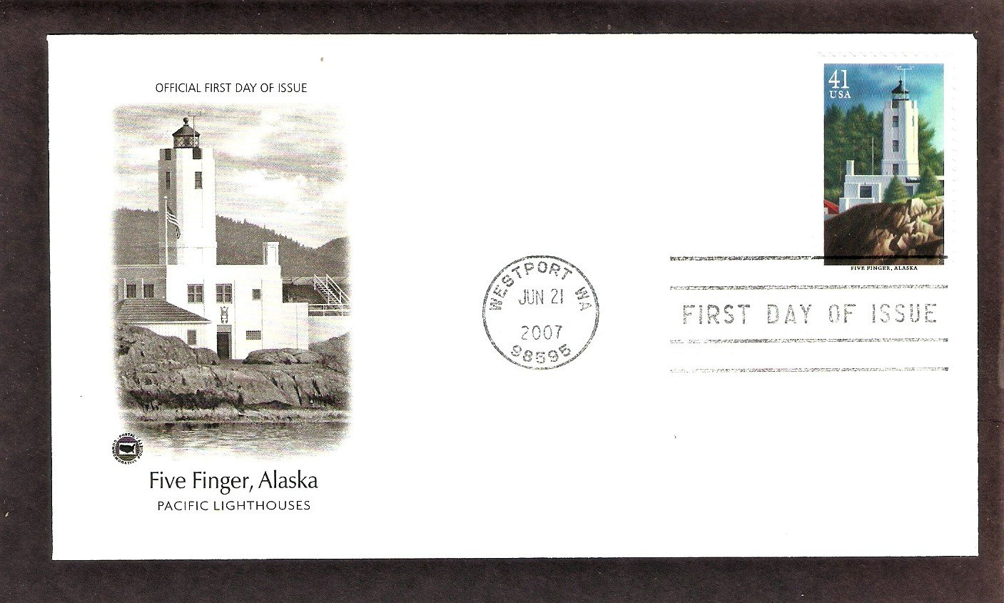 Pacific Lighthouses, Five Finger Lighthouse, Alaska, PCS, First Issue USA