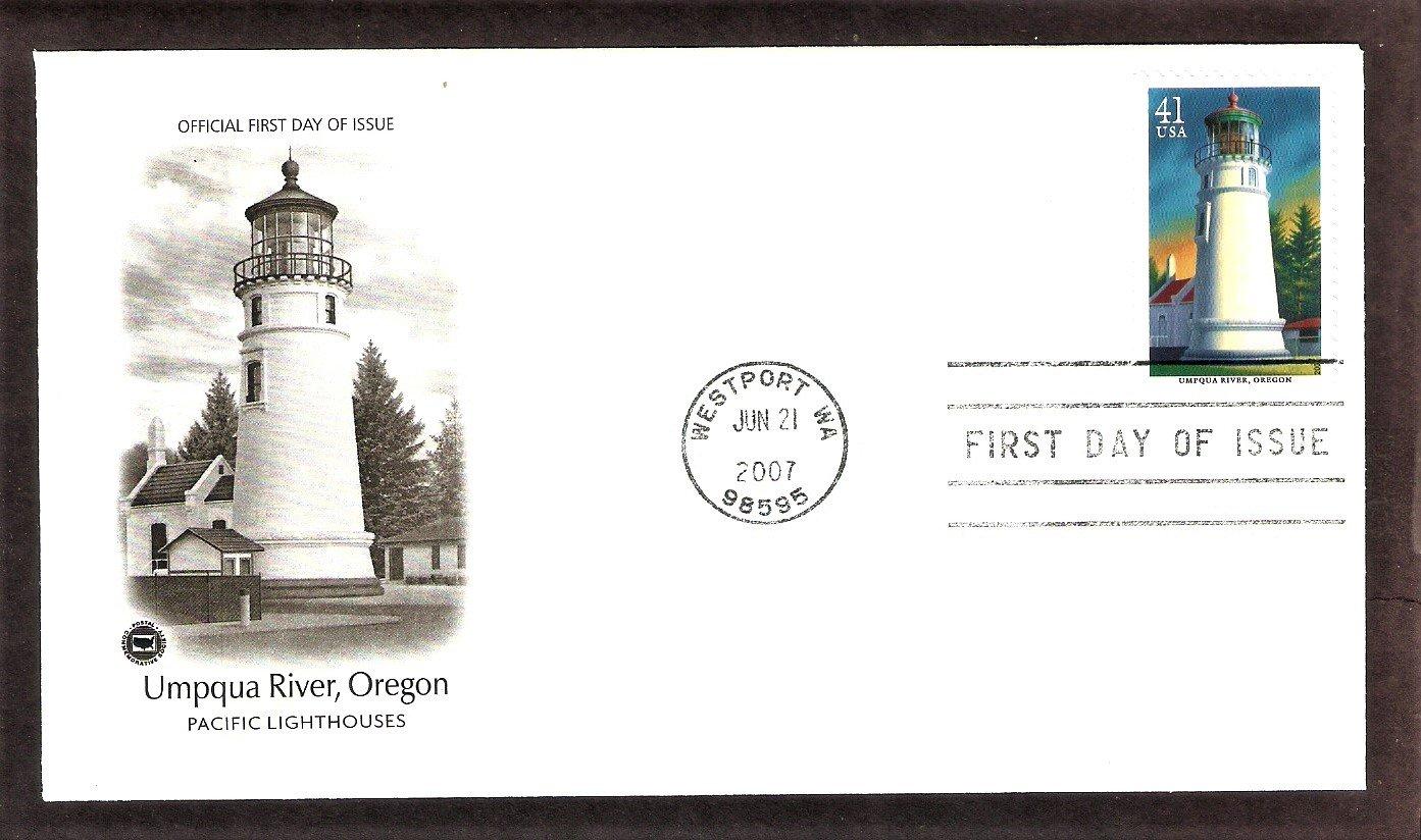 Pacific Lighthouses, Umpqua River Lighthouse, Oregon, PCS, First Issue USA